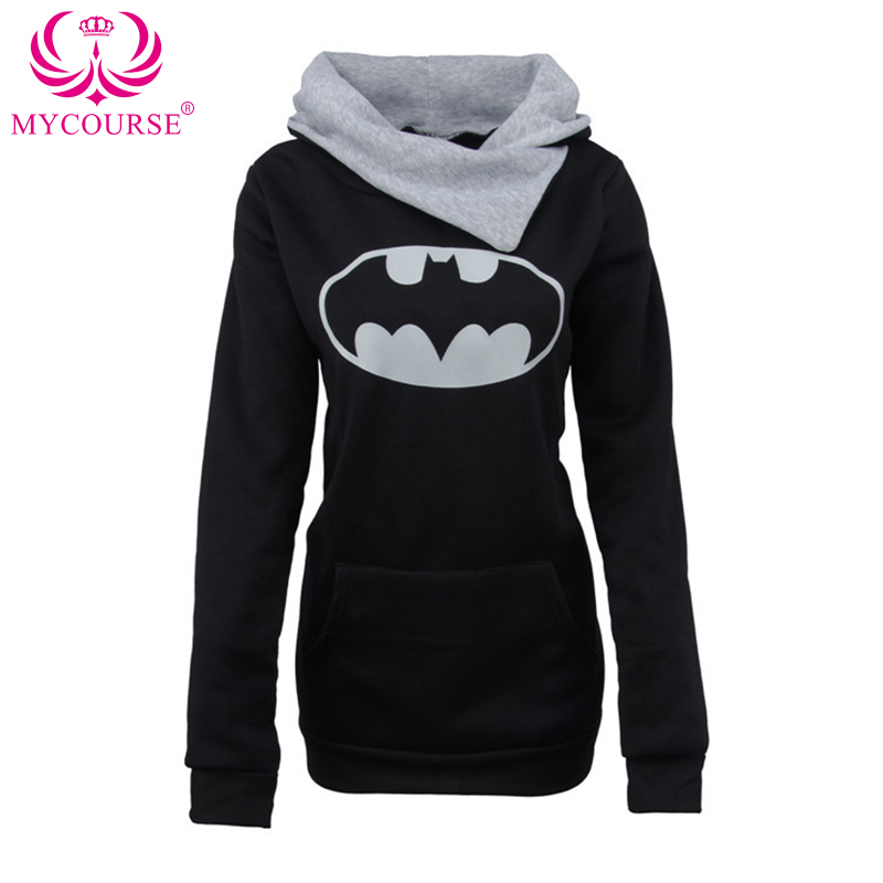MYCOURSE Autumn Winter Women Casual Big Mouth Slimming Hooded Front Pocket Applique Design Long Sleeves Hoodie Female Pullover