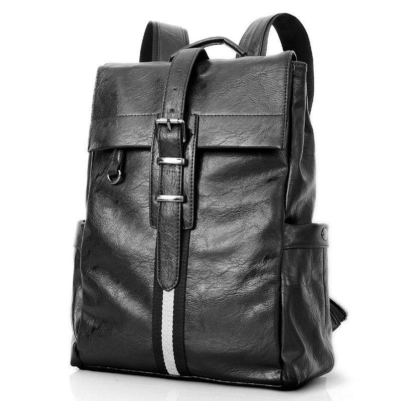 цена на Retro England Style Designer Belt Buckle Backpack Imported PU Leather Men Casual Simple School Bag Stylish Black Packsack