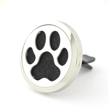 Dog Paw Car Perfume Locket 35mm 316L Stainless Steel Round Shape Magnetics Amoratherapy Diffuser Lockets