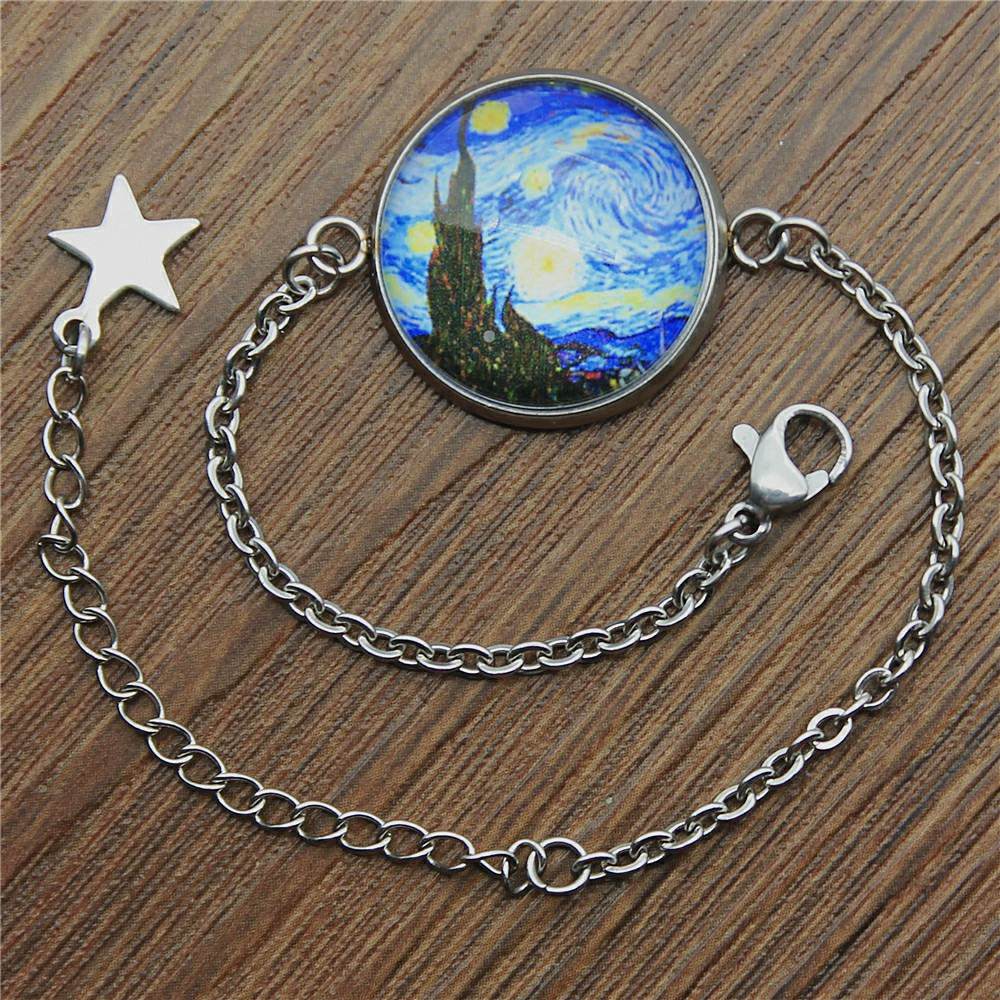 Van Gogh The Starry Night 20mm Glass Cabochon Stainless Steel Bracelet For Women Jewelry Dropshipping 2019 Fashion in Chain Link Bracelets from Jewelry Accessories