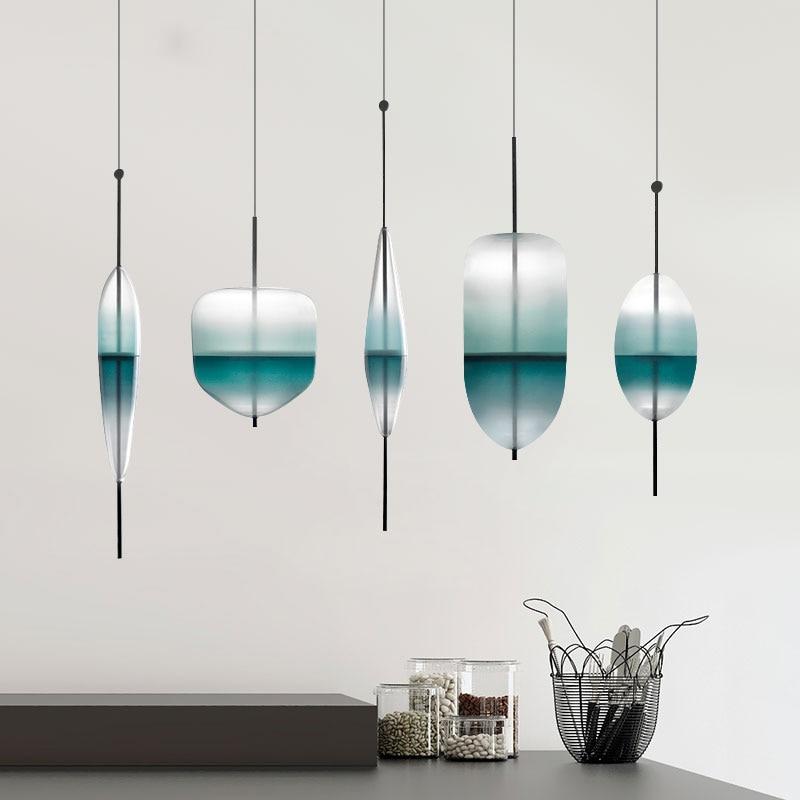 Modern pendant lights Blue Glass LED Pendant Lamps For Living Room Dinning Room suspension hanglamp luminaire Lighting Fixtures цена