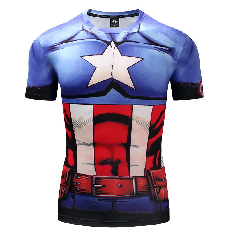 We only produce clothes monopoly quality Mens Gyms short sleeve T-shirt 3D Superhero League Avengers Cosplay Compression Shirt
