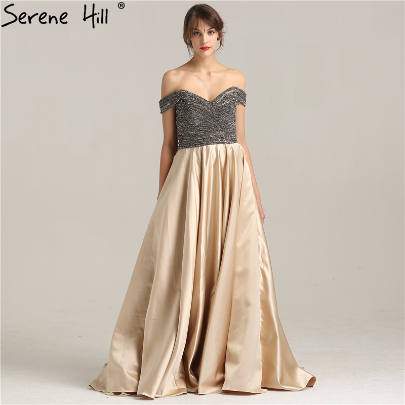 Sexy Off Shoulder Beading A-line Evening Dresses 2018 New Arrival Formal Gowns Real Picture Robe De Soiree Serene Hill BLA6252