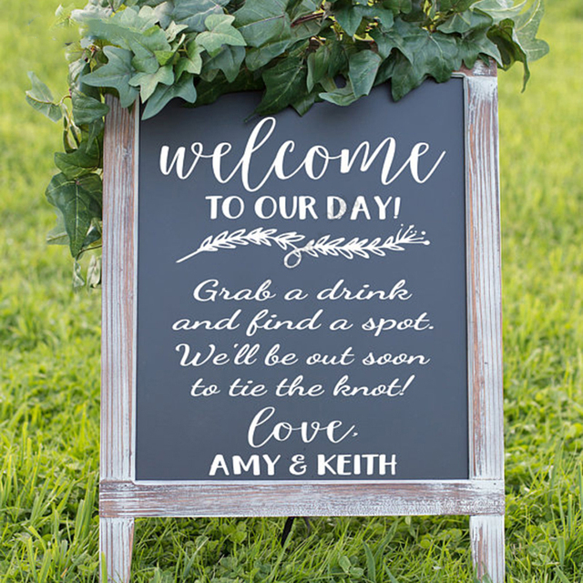 Welcome To Our Day Wedding Reception Sign Vinyl Decal Custom Name Board Sticker