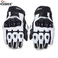 SSPEC Motorcycle Gloves Full Knight Ride Breathable Protective Carbon Fiber Leather Men Cycling Racing Guantes Moto