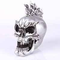 Silver Vampire Skull Resin Human Head Skull Replica Medical Model Aquarium Ornament Halloween Home Decoration