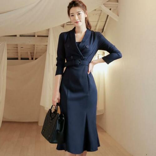 Femmes en queue de poisson taille ceinture col en v Double boutonnage Med longueur robe formelle OL robes N4