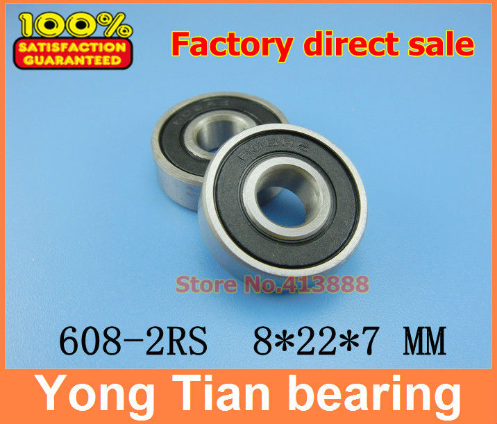 50 pcs/lot 608-2RS 608RS 608 2RS R-2280HH 8*22*7 mm High quality ABEC-5 Z3V3 minideep groove ball bearing все цены