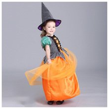 ABWE Best Sale Summer New Children's Princess Dress for Halloween Pumpkin Children Dress 110cm