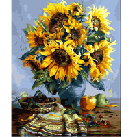 DIY Oil Painting Paint By Number Canvas Picture Home Wall Decor Sunflowers Drawing Coloring Paint Craft