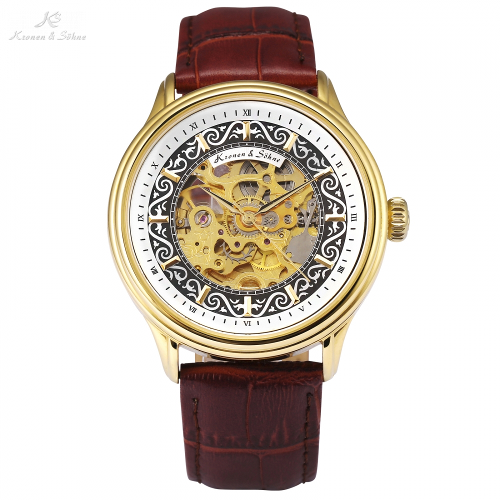 KS Skeleton Men Watches Clock Golden Steel Crystal Case Brown Leather Strap Montre Homme Automatic Mechanical Wrist Watch /KS386 ks black skeleton gun tone roman hollow mechanical pocket watch men vintage hand wind clock fobs watches long chain gift ksp069