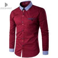 ZEESHANT 2017 Fashion Brand Slim Fit Men Long Sleeve Shirt Cotton Men Casual Camisa Social Men
