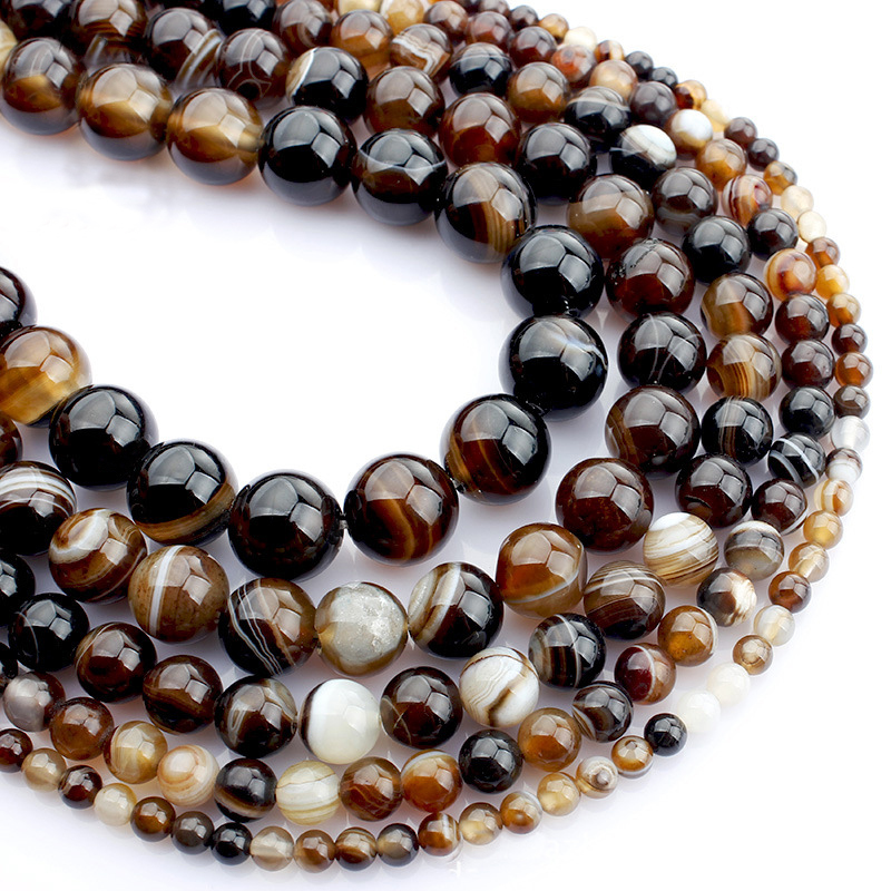 4 6 8 10mm Natural Coffee Brown Stripes Agate Stone Beads Bulk Loose Stone Beads For DIY Jewelry Bracelet Necklace Making HK032 6pcs natural stone purple volcanic rock lava beads 10mm round volcanic rock beads for diy jewelry making necklace bracelet gift