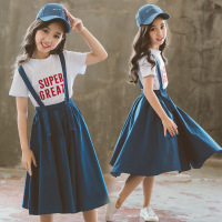 Girls Blue Suspender Skirt Baby Girl long bib Skirt 2019 summer overalls T Shirts Kids Students Clothing set For 6 8 10 12 14 Y