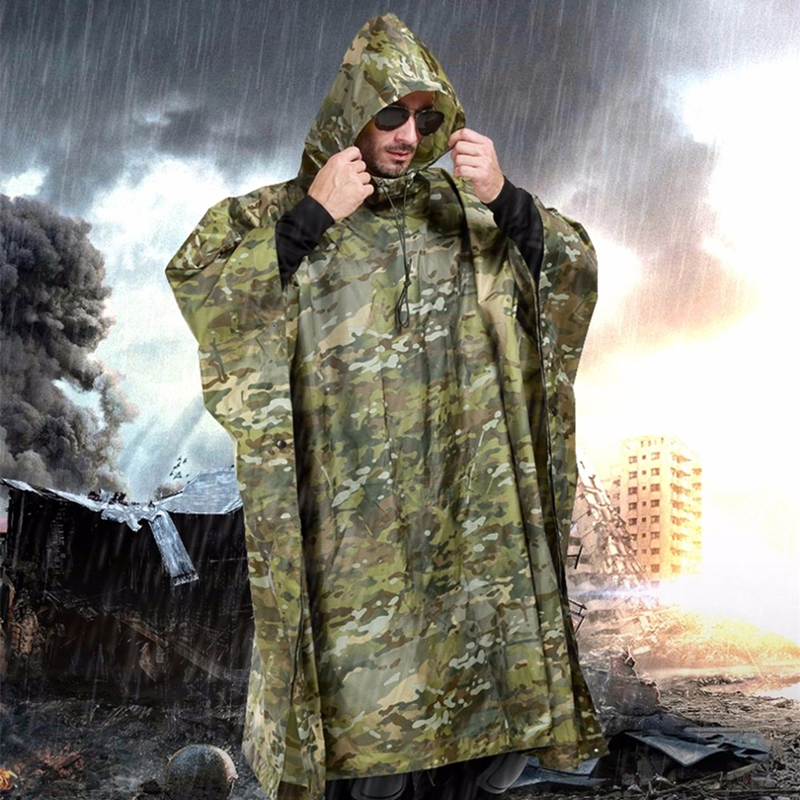 Military Outdoor Hunting Ghillie Suits Raincoat Waterproof Environmental Unisex Raincover Emergency Poncho Hunting Ghillie Suits
