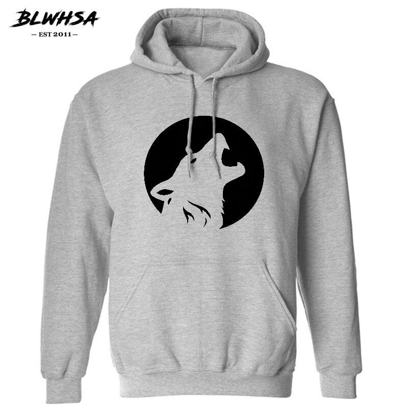 BLWHSA New Wolf Head Men Hoodies Hip Hop Fashion Skateboard Street wear Sweatshirt Winter Men Hoodie Sweat Homme US Size