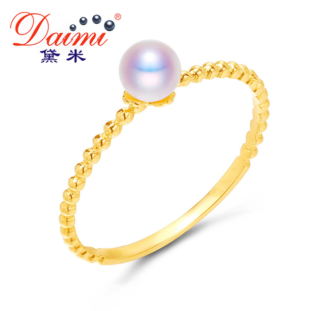DAIMI White Pearl Ring 925 Sterling Silver Ring 4-4.5mm Akoya Pearl Fine Jewelry 2017 New