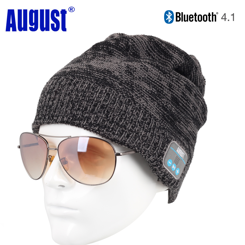 August EPA20 Bluetooth Cap Winter Beanie Hat with Stereo Speaker and Microphone Wireless Headphone Earphone for Outdoor Sports wireless bluetooth music beanie cap stereo headset to answer the call of hat speaker mic knitted cap