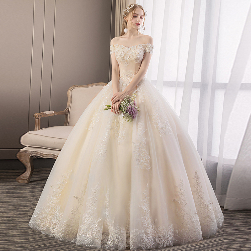 2019 New Boat Neck Short Sleeves Lace Wedding Dress Organza and Tulle Sequined Embroidery floor length Wedding Bridal Gowns