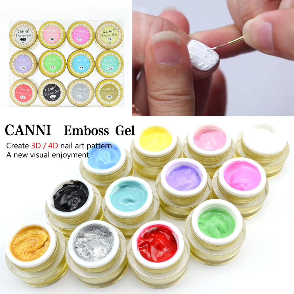 40269 Canni Nail Art 3d Gel 12 Colors Acrylic Carving Uv Led Gel