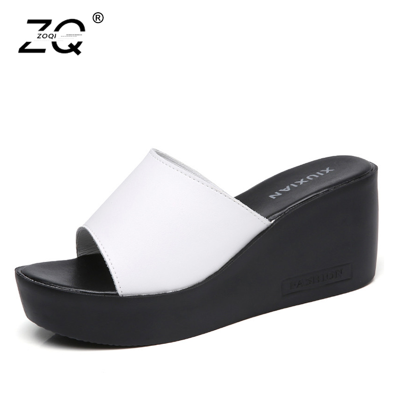ZOQI Summer Women Slippers Black Flats Shoes Women Beach Sandals Shose Anti-skid Shoes Zapatillas Mujer 2018 Size 35-40 ...