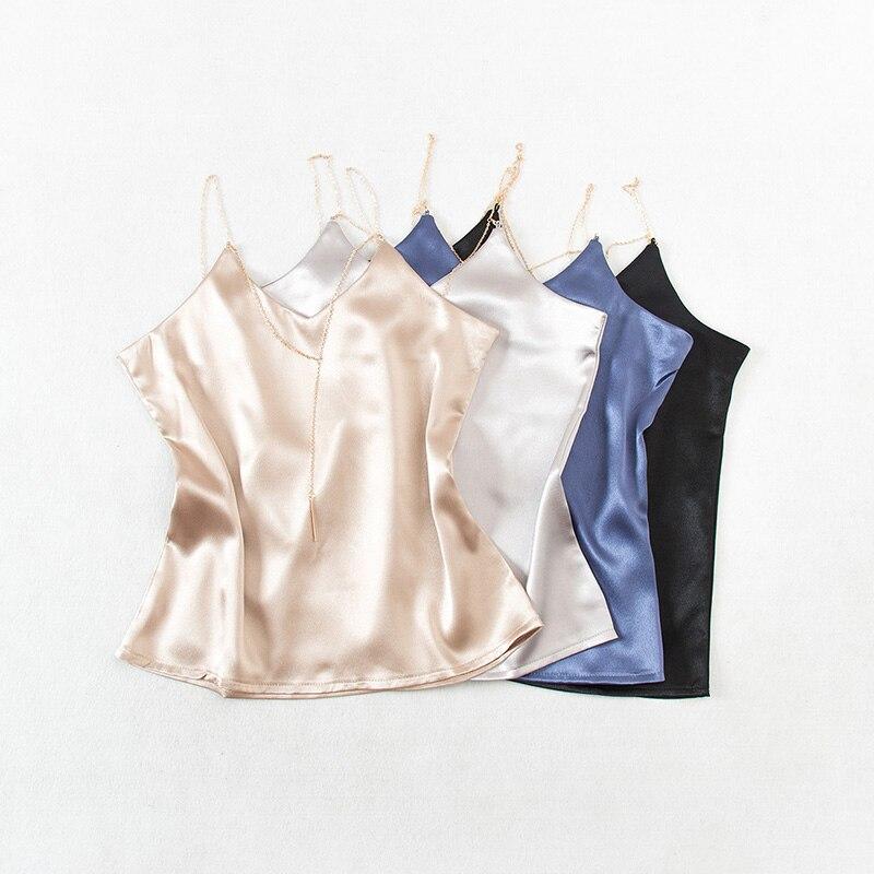 2018 summer new female V-neck metal chain satin vest womens solid color Halter tank top women sling camis