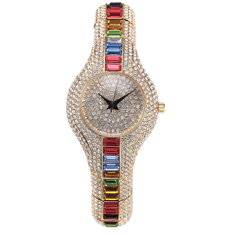 2019 New Fashion Silver Top Luxury Watches High Quality Women Rhinestone Crystal Quartz Watches Lady Colorful