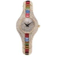 2017 Nieuwe Mode Zilveren Top Luxe Horloges Hoge Kwaliteit Vrouwen Rhinestone Crystal Quartz Horloges Lady Kleurrijke Jurk Horloges