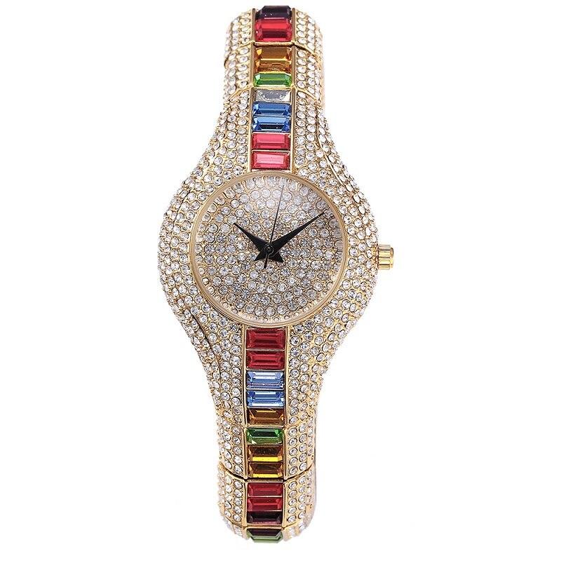 2019 ใหม่แฟชั่นเงินสุดหรูนาฬิกาผู้หญิงคุณภาพสูง Rhinestone คริสตัล Quartz นาฬิกาเลดี้สีสันนาฬิกาข้อมือ-ใน นาฬิกาข้อมือสตรี จาก นาฬิกาข้อมือ บน AliExpress - 11.11_สิบเอ็ด สิบเอ็ดวันคนโสด 1