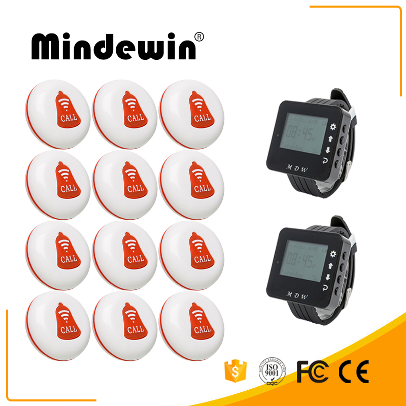 Mindewin Wireless Restaurant Table Buzzer Waiter Calling System 12PCS Call Button M-K-1 and 2PCS Watch Pager M-W-1 Paging System digital restaurant pager system display monitor with watch and table buzzer button ycall 2 display 1 watch 11 call button
