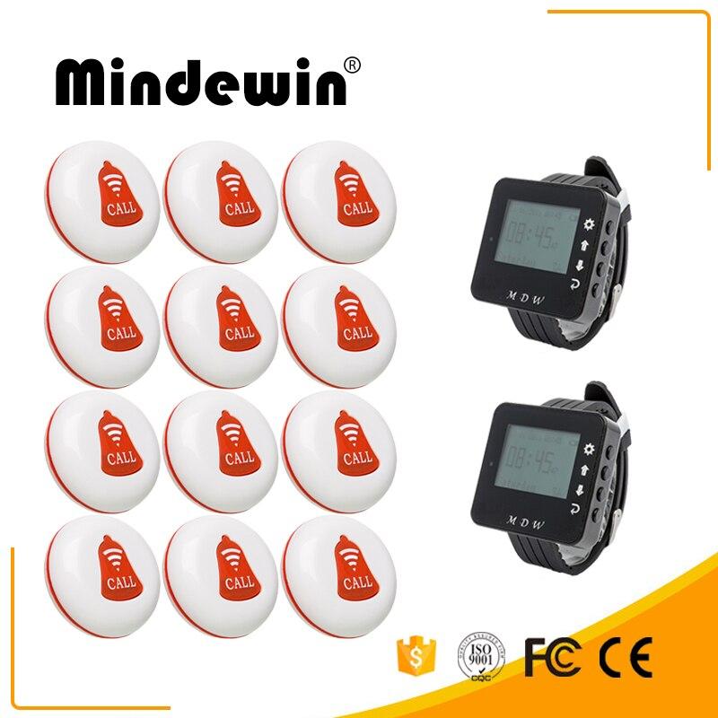 Mindewin sans fil Restaurant Table Buzzer serveur système d'appel 12 pièces bouton d'appel M-K-1 et 2 pièces regarder téléavertisseur M-W-1 système de radiomessagerie