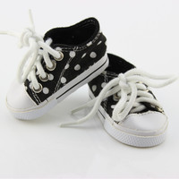18 Inch American Girl Doll Accessories Shoes Low Cylinder White Dots Canvas Shoes For Baby Girl