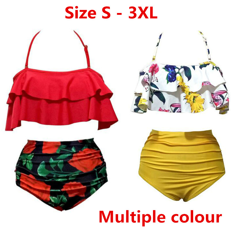 2018 New Girl Bikinis Women Swimsuit High Waist Bathing Suit Plus Size Swimwear Push Up Bikini Set Vintage Beach Wear Biquini dzrzvd floral printed high waist sexy bikinis women swimsuit bathing suits push up bikini set beach plus size flower swimwear