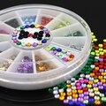 12 Цветов Блестит 3 мм Акриловых Ногтей Украшения Наклейки DIY Советы Ногтей Колеса 7LPK
