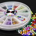 12 Colors Glitters 3mm Acrylic Nail Decoration Stickers DIY Nail Tips Wheel 7LPK