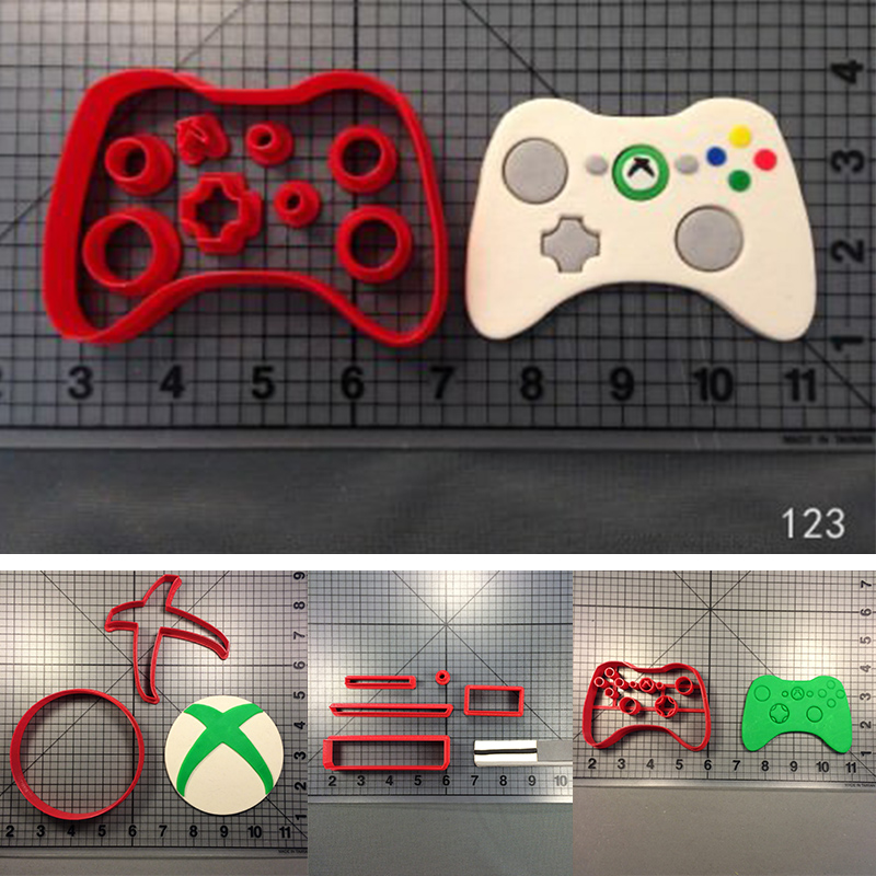 Play Game Xbox Cookie Cutters Custom Made 3D Printed Xbox Controller Fondant Cupcake Top Cookie Cutters Set Cake Decorating Tool