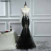 Sexy Prom Dress 2017 Long Sleeve Black Champagne Appliques Beaded Mermaid Dresses