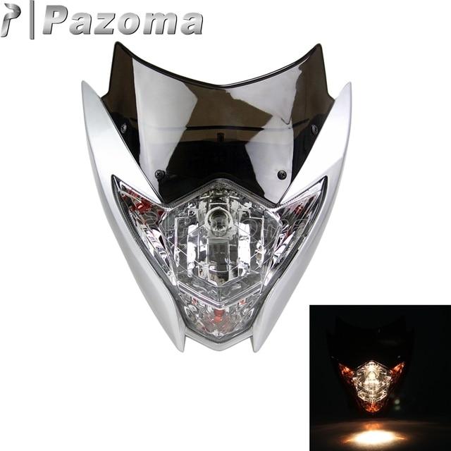 Pazoma Universele Zilver Motorfiets Koplamp Off Road Street Fighter ...
