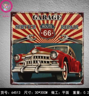 30x30cm Route 66 Garage Vintage Home Decor Tin Sign For Wall Decor