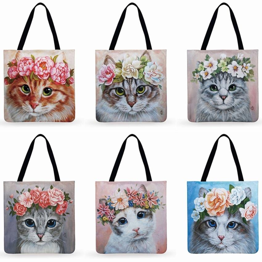 Reusable Shopping Bag Cat In Flower Printed Tote Bag Ladies Shoulder Bag Linen Fabric Bag Outdoor Beach Bag Daily Hand Bag