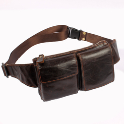 Chest pack fashion genuine leather bag cowhide waist pack for men male small hasp cross-body bag card holder