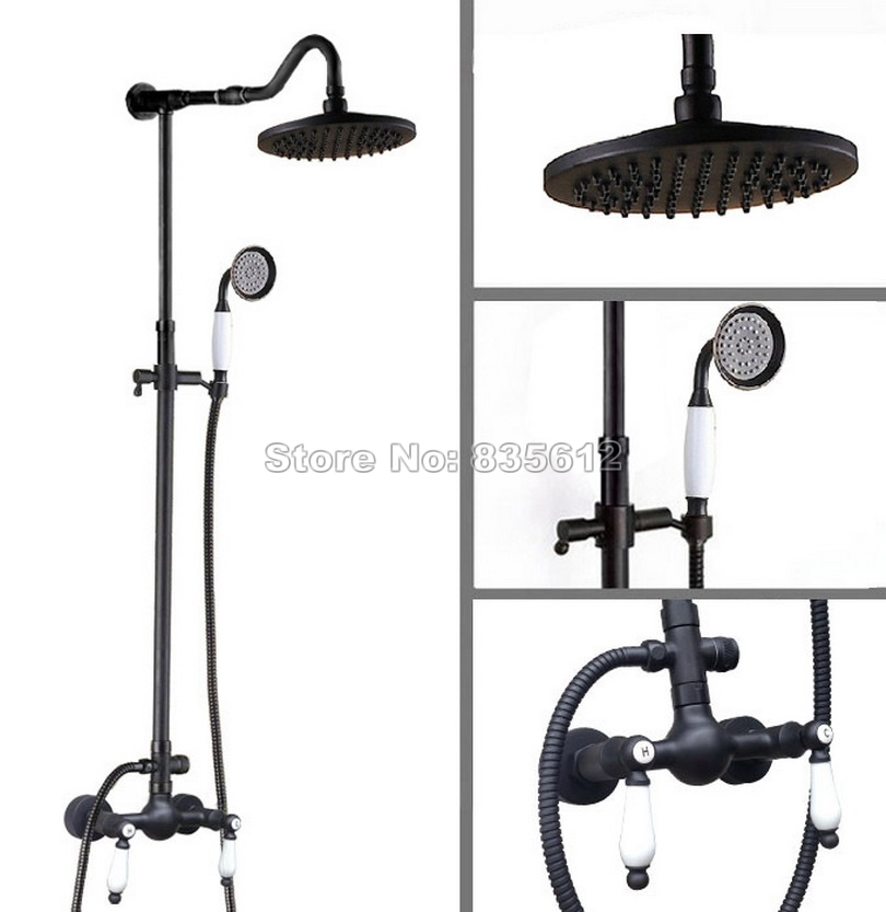 Black Oil Rubbed Bronze Bathroom 8 inch Shower head Wall Mount Rain Shower Faucet Set with