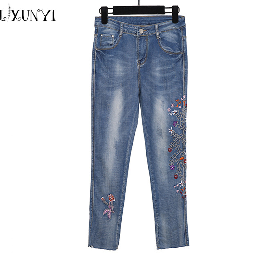 XL-4XL Autumn New Plus size Women's Jeans Blue Embroidery Slim Cowboy Denim Trousers Lady Skinny Ankle Length Jeans Pants men s cowboy jeans fashion blue jeans pant men plus sizes regular slim fit denim jean pants male high quality brand jeans