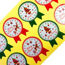 80PCS/lot NEW Red Green Merry Christmas Tree And Deer Sealing Sticker Diary Cake Biscuit Package Label