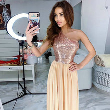Off Shoulder Sequin Chiffon Dress Women Sexy Party Evening Club Beach Dresses 2019 Summer Casual Femme Vestodis(China)