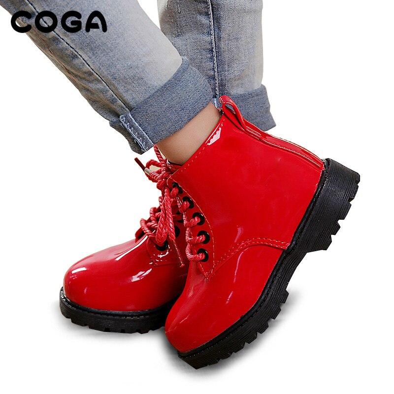Niños Martin botas niños botas de nieve zapatos botas de moto de otoño e invierno 2018 niños de cuero zapatillas impermeables
