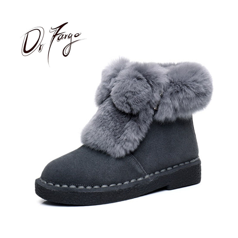 drfargo genuine leather shoes women zipper boots winter spring warm round toe plus big size 34 44 femme chaussure mujer zapatos DRFARGO Genuine Leather Snow Boots Winter 100% Real Rabbit Fur Top Platform Ankle Boots Warm Round Toe Black Grey Big size 35-43