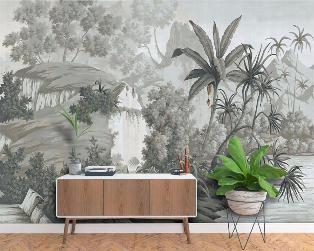 Купить с кэшбэком beibehang Custom wallpaper European retro nostalgic hand-painted rainforest banana palm sofa TV mural background 3D wallpaper