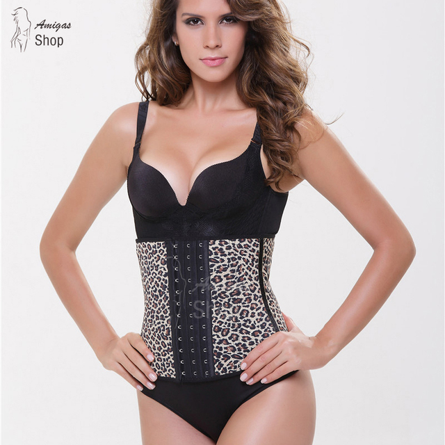 Leopard Corset Latex Waist Cincher Sexy Corselet Top Burlesque Woman Steel Boned Bustier Corset Big Size Slimming  Underbust