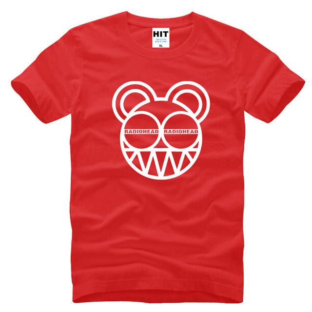 Mens Hombres Radiohead Música Rock Camiseta Camiseta de La Manera 2016 Nueva Manga Corta Cuello de O Camiseta de Algodón Tee Camisetas Hombre